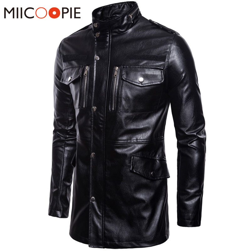 New Motorcycle Leather Jacket Men Stand collar PU Leather Jacket Long Windbreaker Coat Male Multi-Pocket Leather Jacket M-5XL