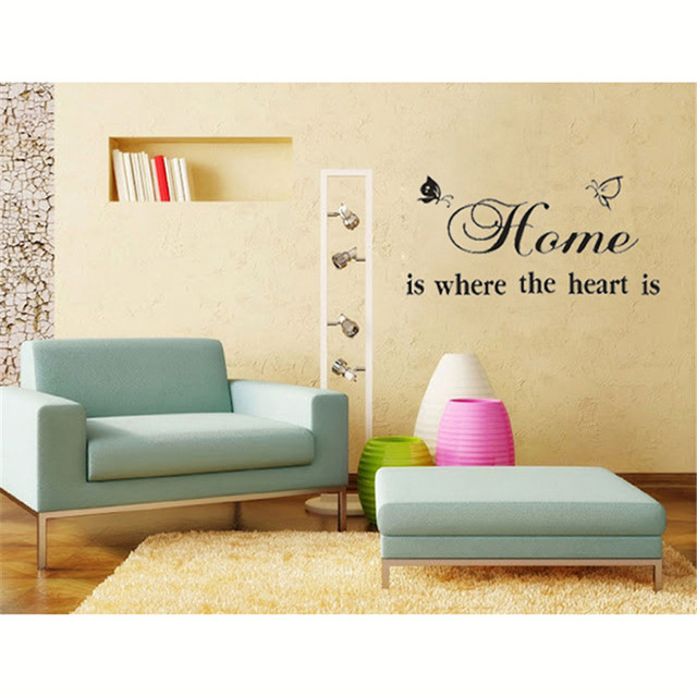 Home Is Where The Heart Quote Wall Decals Diy Adesivo De Parede ...