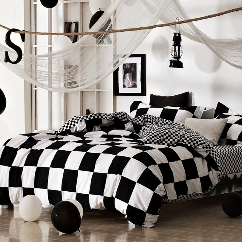 Bed sheet set black and white - Black And White Plaid Zebra Striped Star Design 100 Cotton Duvet Cover