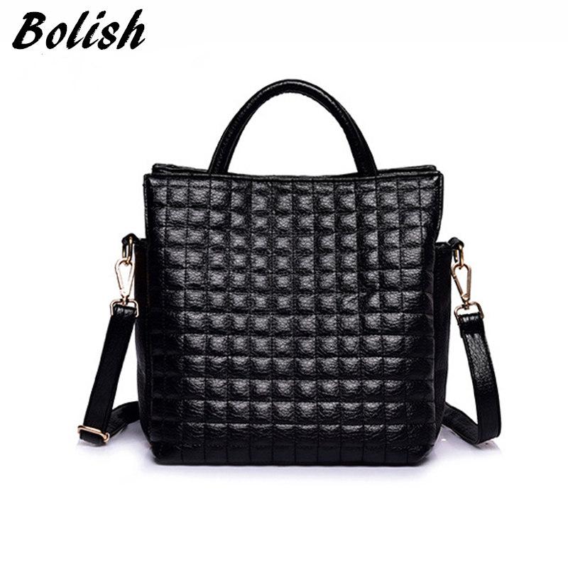 Prix pour Bolish style européen et américain femmes sac de haute qualité souple en cuir pu haut-poignée sac d'épaule de plaid de mode sac