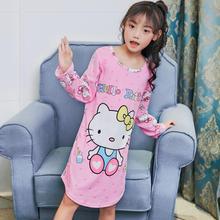 Новые хлопковые рубашки для маленьких подростков пижамы для девочек детское платье с длинными рукавами и рисунками из мультфильмов Ночная Рубашка домашняя одежда детская одежда для сна
