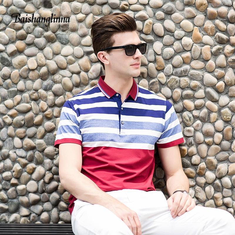 Baishanglinna 2018 rövid ujjú alkalmi férfi póló póló férfi - Férfi ruházat