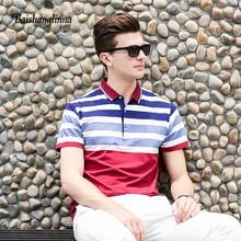 Baishanglinna 2018 lengan pendek kasual lelaki polo shirt lelaki berjalur fesyen jenama polo baju musim panas musim panas kapas kapas polo shirt