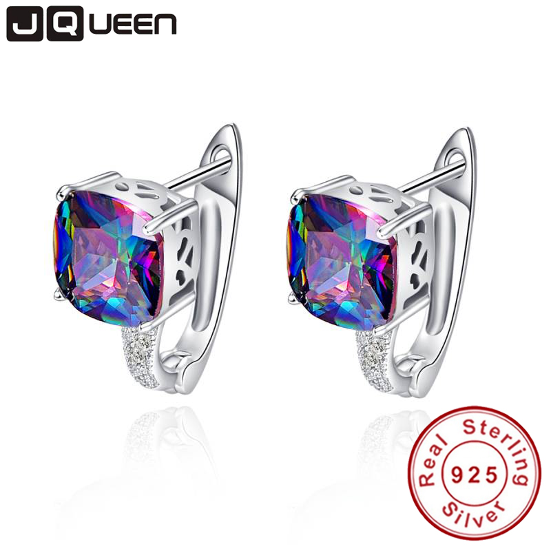 JQUEEN Fashionable Pierced Ear Cuff 925 Sterling Silver Earring Brand Fashion Jewelry for Women with 6.8ct Rainbow Topaz Stones
