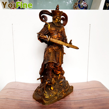 Chinese folk mythology bronze four gods king warrior diamonds kings Feng Shui jewelry statue set