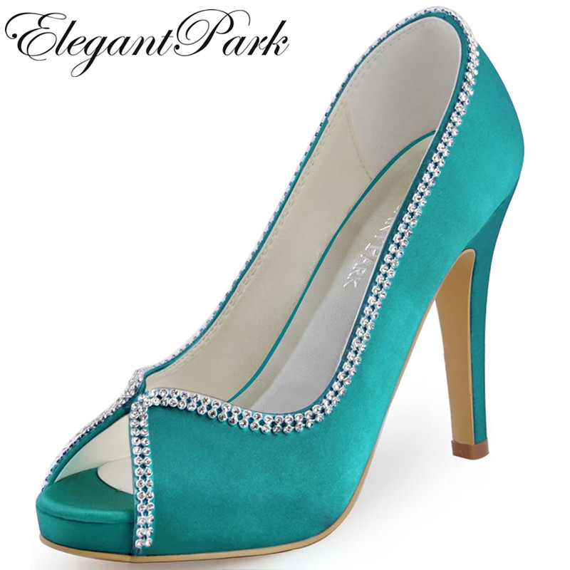 Aliexpress Buy EP11083 Womens High Heel Platform Wedding Bridal Shoes Mint Green Teal Satin Lady Female Bridesmaid Prom Party Evening Pumps From