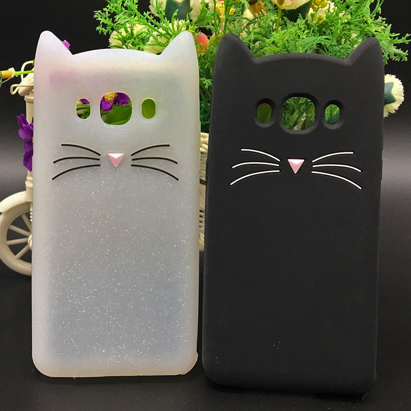 New Japan Cute 3D Glitter Beard cat soft silicon phone case For samsung galaxy j510 j3 j7 j5 2016 j710 Cartoon Coque back cover (3)