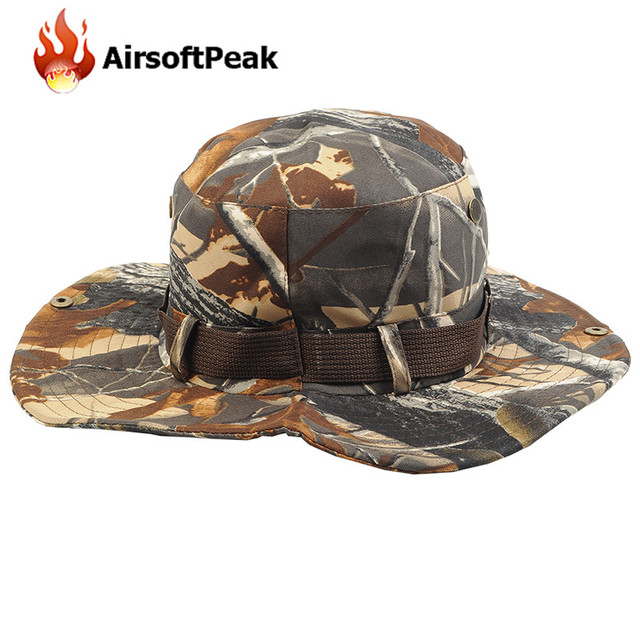 8d3f397773b Outdoor Sun Cap Military Tactical Boonie Hat Sunscreen Round Brimmed Cap  Fisherman Hiking Fishing Caps Men Camouflage Headwear