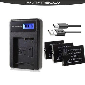 3Pcs DMW-BLC12,BLC12E,BLC12PP,BLC12 Battery+USB LCD Charger for Panasonic Lumix FZ1000,FZ200,FZ300,FZ2500,G5,G6,G7,GH2,DMC-GX8