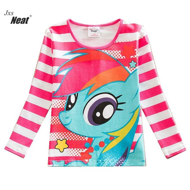 NEAT  Retail Autumn 2017 Style Fashion Comfortable Lovely Print Pattern 100% Cotton Girl Long Sleeve T-Shirt Child PD1120