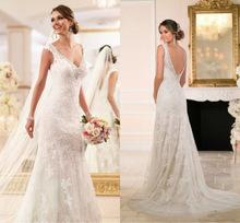 2016 Elegant V-Neck Sleeveless Mermaid Wedding dresses Plus Size Backless Beaded Lace Bridal Gown Robe Mariage Vestidos de novia