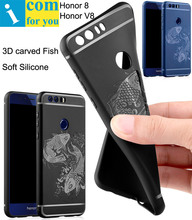 3D carved Fish Silicone Cover Case For Huawei Honor 8 anti hit Shock-proof Capa Funda For Honor V8