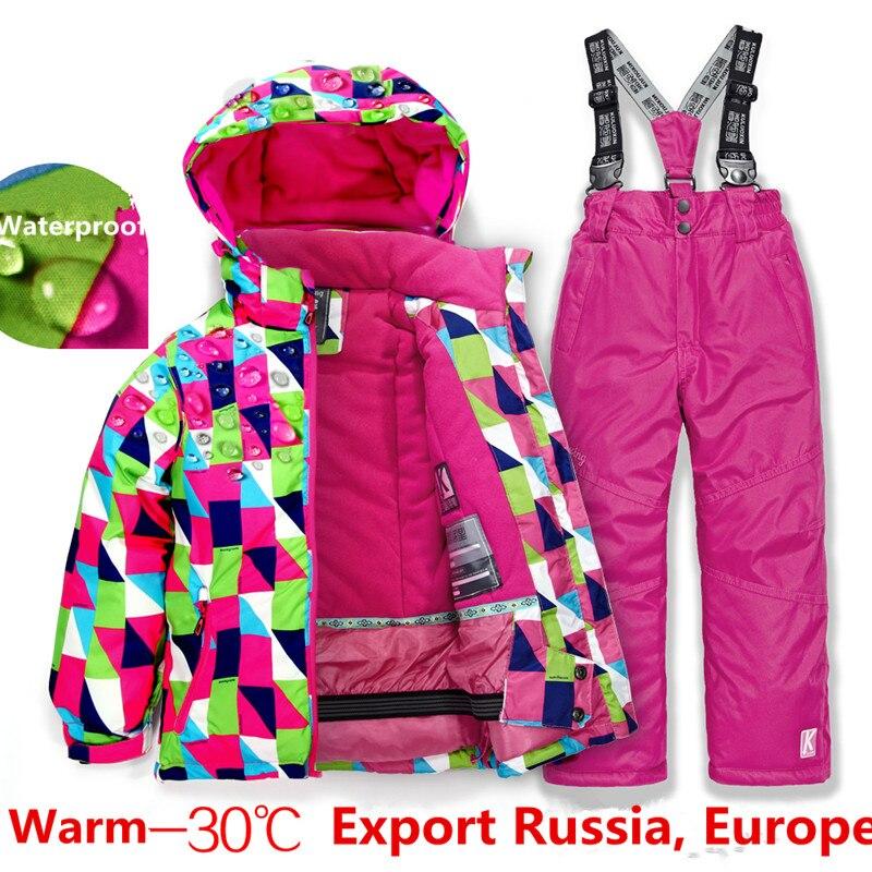 2019 offre spéciale marque garçons/filles combinaison de Ski pantalon imperméable + veste ensemble Sports d'hiver vêtements épaissis costumes de Ski pour enfants