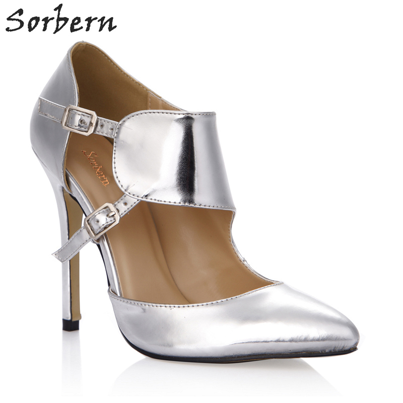 цена Sorbern Elegant Shiny Silver Women Pump High Heels Pointed Toe See Through Shoes Fetish Heels Slip On Shoes For Women Custom