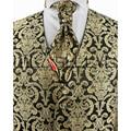 Wholesale Romantic wedding gold paisley mans waistcoat  4pcs
