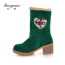 hot deal buy fanyuan fashion platform plush snow boots winter warm shoes casual slip on mid-calf boots women bling heart-shaped boots