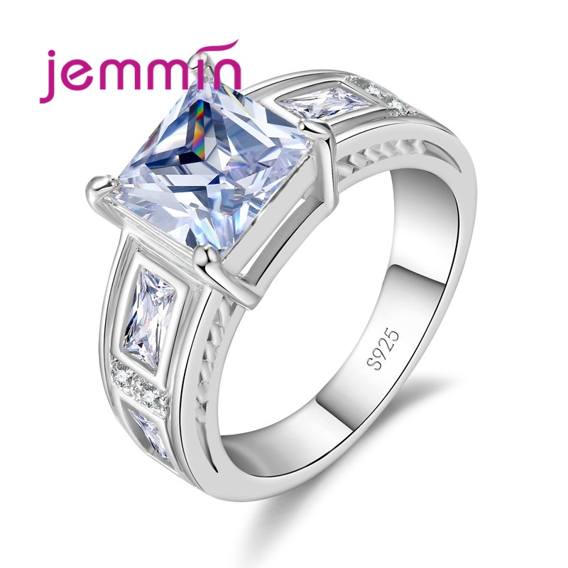 Hot Exquisite Shiny Square Colorful CZ Wedding Rings 925 Sterling Silver Women Girl Fashion Jewelry Wholesale Price