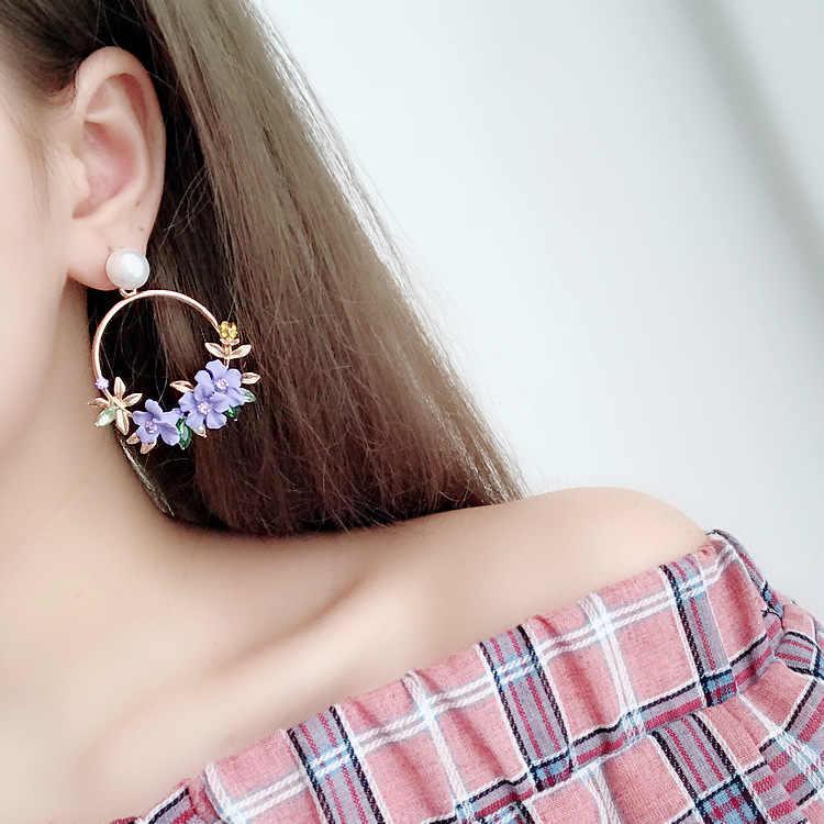 2019 neue Elegante Großen Kreis Blume Tropfen Ohrringe Für Frauen Fashion Simulierte Perle Strass Boucle D'oreille