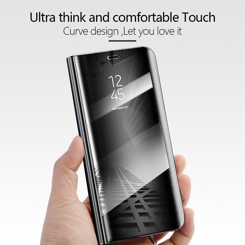 Redmi5 Clear View Mirror Flip Case For Xiaomi Redmi 5 Cover Luxury PU Leather Smart Phone