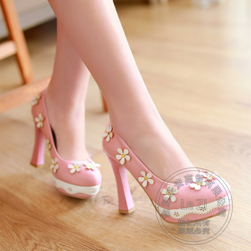 Princess Nice 2016 Platform Single Lolita Shoes With Thick Soles Comfortable Charm Round Toe Pink Casual