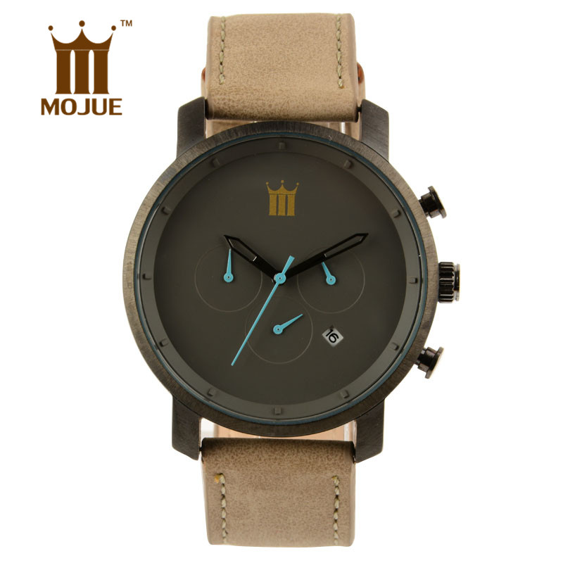 HOT 2017 Top MOJUE Brand Wristwatches Men s font b watch b font Fashion Leather Strap