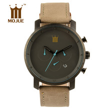 HOT 2017 Top MOJUE Brand Wristwatches Men's watch Fashion Leather Strap Sports Quartz Watch Waterproof Clock Dress Watches