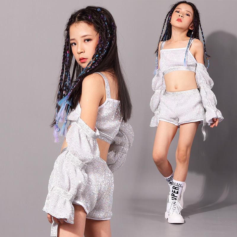 Silver Dance Costume Kids Jazz Glitter Sequin Clothes Hip Hop Stage Outfits Flared Sleeve Street Dance