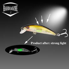 Купить с кэшбэком HAODIAOZHE Crankbait Minnow Fishing Lure Luminous Topwater Swimbait Hard Wobblers 2 Treble Hooks 3D Eyes Isca Tackele Pesca YU90