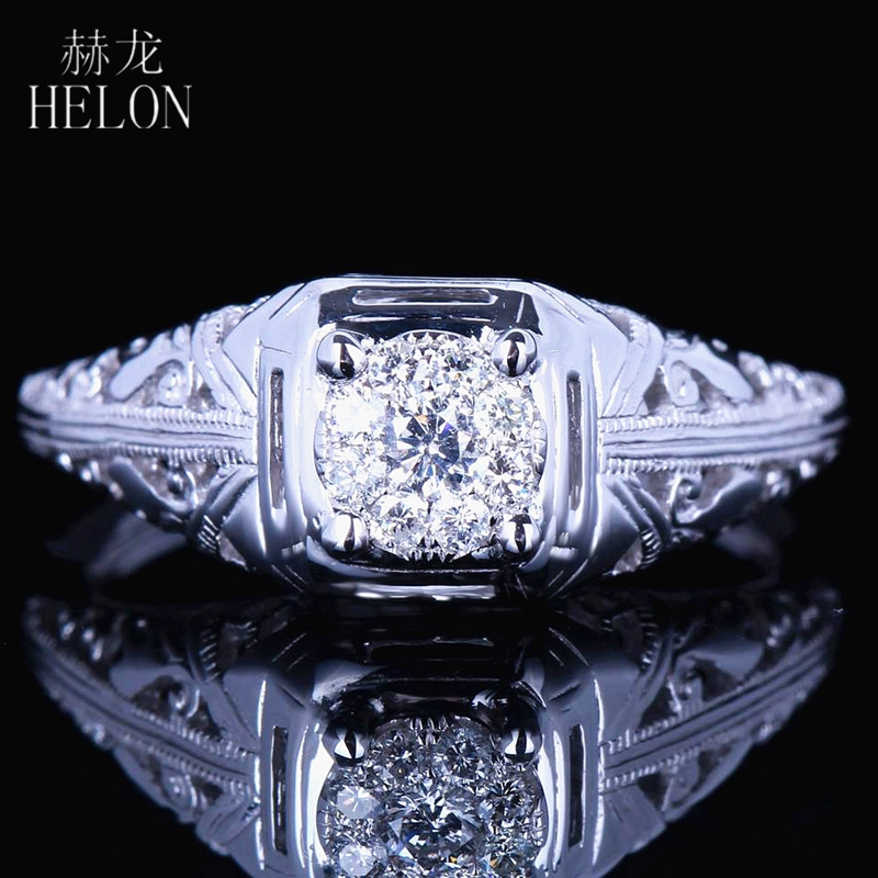 HELON Solid 10K White Gold 6mm Round Diameter Diamond Engagement Wedding Solitaire Accents Ladies Vintage Antique Jewelry Ring цена