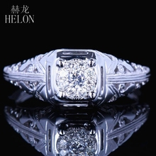 HELON Solid 10K White Gold 6mm Round Diameter Diamond Engagement Wedding Solitaire Accents Ladies Vintage Antique Jewelry Ring