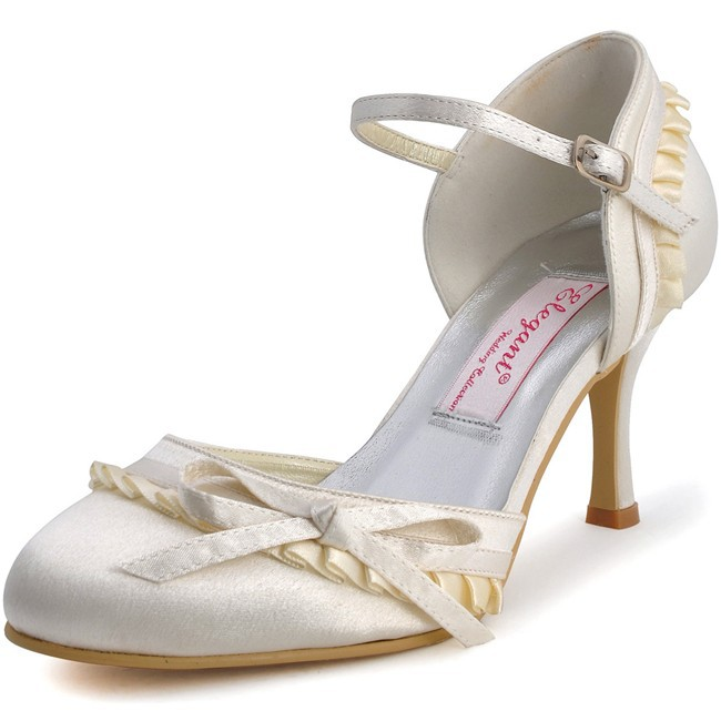 ФОТО Women's shoes for Bride EP11070 White Ivory High Heel Bridal Pumps Satin Woman Wedding Shoes  Woman prom shoes