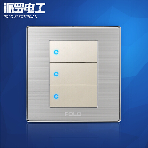 Wholesale POLO Luxury Wall Switch Panel, Light Switch,3 Gang 2 Way,Champagne/Black,Push Button LED Switch,16A,110~250V, 220V kempinski wall switch 3 gang 1 way light switch champagne gold color special texture c31 sereis 110 250v popular
