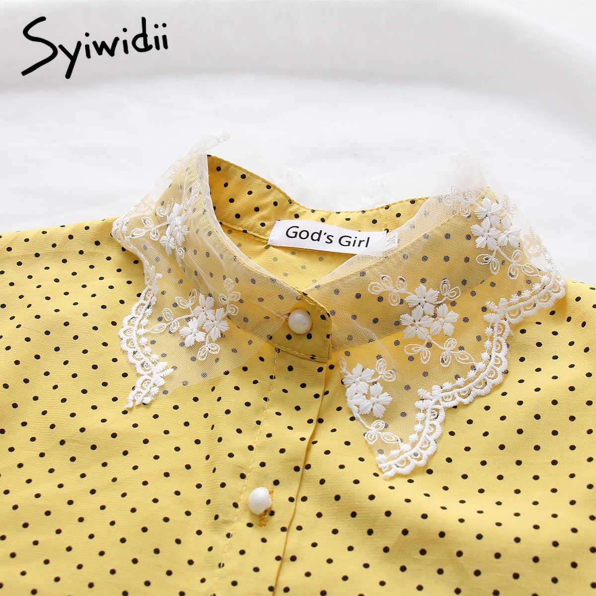 シフォンブラウス女性トップス服ポルカドットレースの蝶の袖韓国ファッション服ブルー黄色 2019 春夏新作