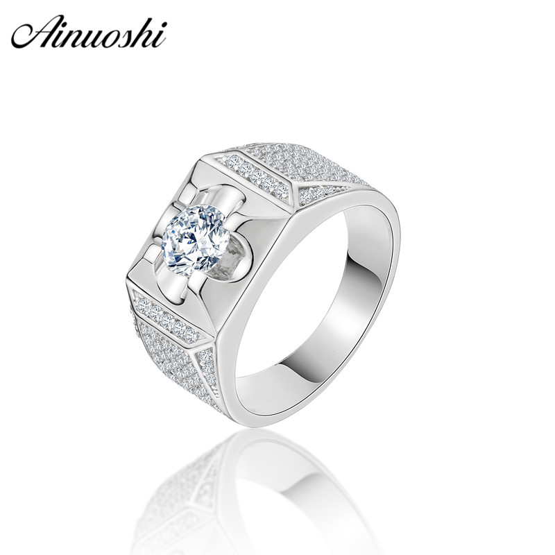 AINOUSHI Classic 925 Sterling Silver Men Wedding Engagement Ring 1 Carat Round Cut Original Male Silver Anniversary Party Rings