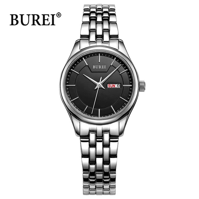 Буреи дамы Часы Для женщин s лучший бренд класса люкс Водонепроницаемый Модные кварцевые наручные часы Для женщин часов 2017 Saat Relogio feminino