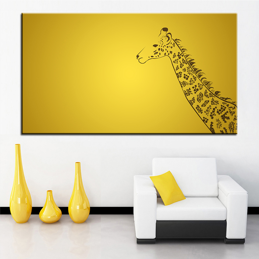 っDeer Large size Printing Oil Painting giraffe Wall painting Decor ...