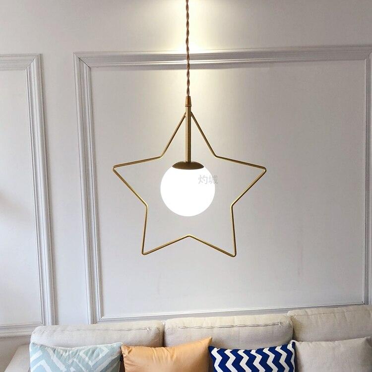 Nordic Bar Pendant Lights Creative Restaurant light Porch Corridor Balcony Brass Gold lamp Star Bedside Suspension Luminaire