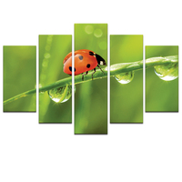 Visual Art Decor Cute Ladybird Photo Canvas Art DIY Baby's Room Decoration Love Nature Love Insect Photo Canvas Printing Unframe