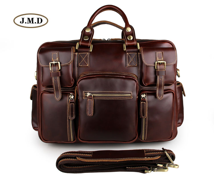 J.M.D Hot Selling Fashion Style Genuine Leather Red wine Men's Fashion Briefcases Laptop Busniess Handbags 7028X-1 fashion style