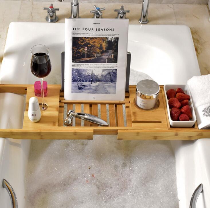 Bamboo Bathtub Tray Shower Wine Glass Book Holder Bathtub Rack