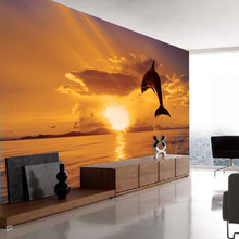 3D  Wallpaper Dolphin Jumping Sea Sunset