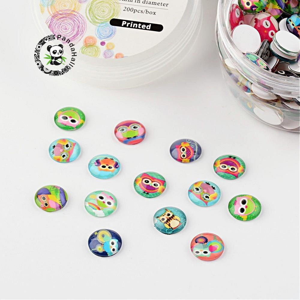 12x4mm Glass Cabochons for DIY Findings Accessories Box Package, Cartoon Owl Printed, Half RoundDome, Mixed Color, 200pcsbox