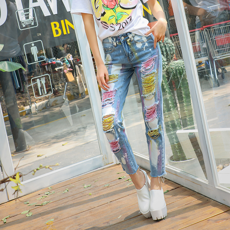 ФОТО 2017 Spring Summer European Super Girl Ripped Hole Straight Jeans Retro Printed Colorful Sexy Street Female Drawing Jean