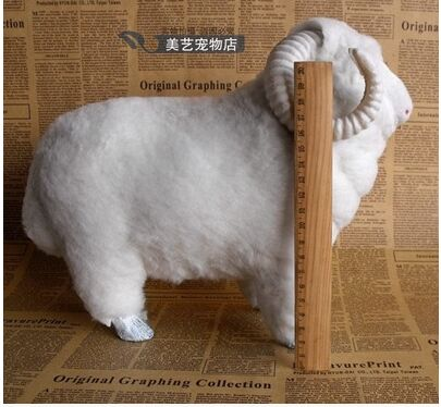 big simulation white sheep toy lifelike sheep doll gift about 30x25x14cm big sitting simulation white cat model plastic