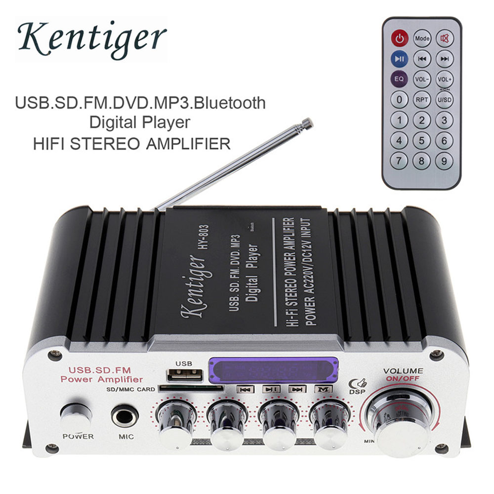 12V 2CH HIFI Bluetooth Car Power Amplifier FM Radio Stereo Audio Music Player Support SD USB MP3 DVD Input for Auto Motorcycle