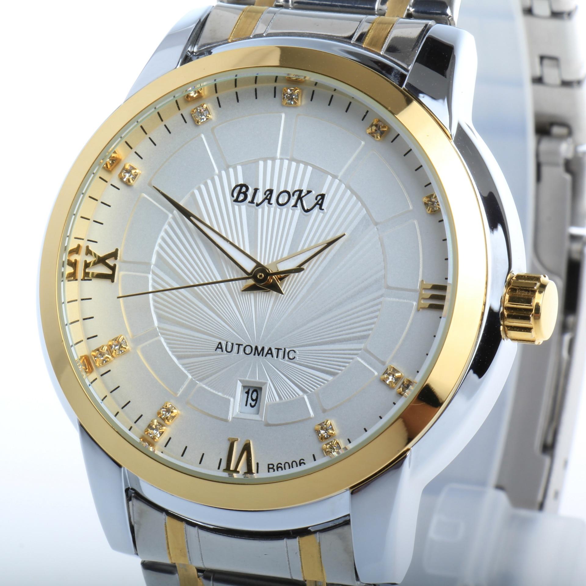e109544c3 BIAOKA للماء العلامة التجارية الأزياء الذهب ووتش أنيق الصلب تقويم الرجال  الساعة كلاسيكي الميكانيكية Montre أوم ساعة اليد