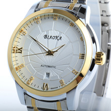 BIAOKA Waterproof Brand Fashion Gold Watch Stylish Steel calendar Men Clock Classic Mechanical Montre Homme Wristwatch