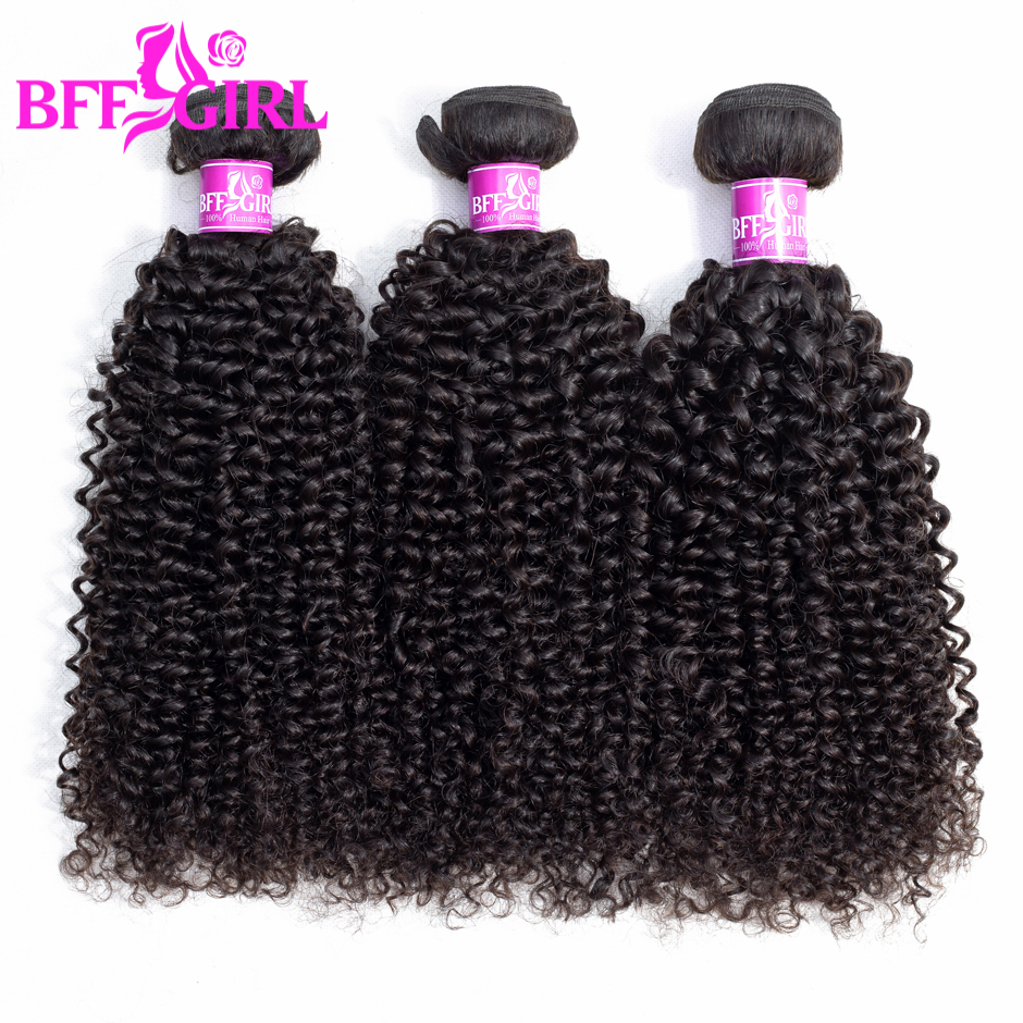 BFF GIRL Malaysian Kinky Curly Hair 3 Bundles 100% Human Hair Weave Bundles Natural Color Non Remy Hair Extensions Free Shipping
