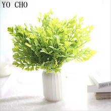 YO CHO Real Touch Plastic Fern Leaves Branch Flower Wedding Home Decor Artificial Plants Fake Plastic Grass Foliage Plant Tree(China)