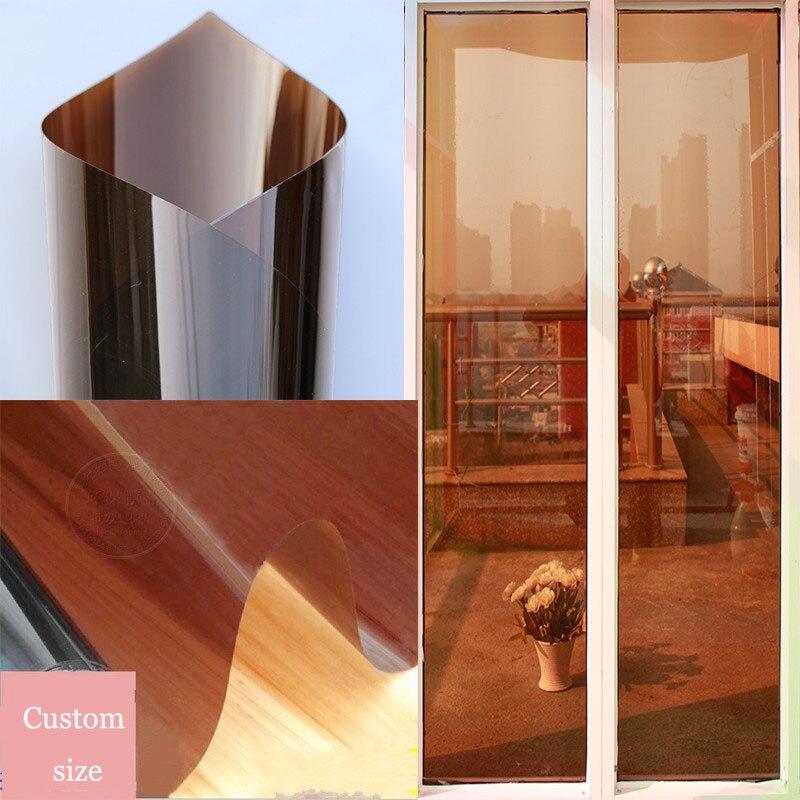 60cm*5m Reflective mirror film Anti UV Heat Insulation Decorative Brown color Solar Window Film Foil for Privavy Protection